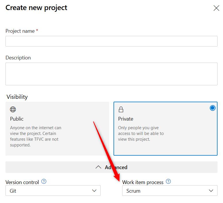 Création d'un projet Devops. Le choix du process est important et va régir le comportement de votre backlog.